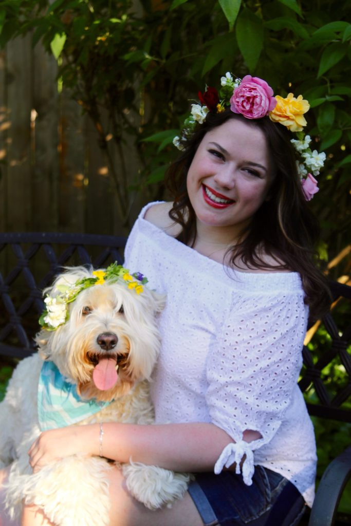 midsommar dog, summer dogs, summer labradoodles, flower crowns, dogs in hats